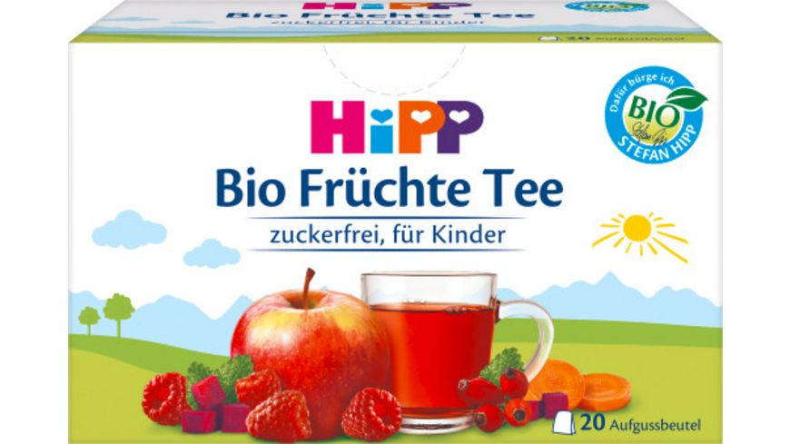 HIPP Teegetränke - Bio-Tee im Aufgußbeutel: Bio-Früchte-Tee, 40g, 20 Aufgussbeutel a 2 g, zuckerfrei