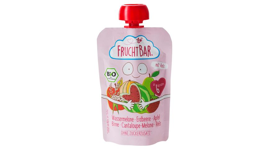 FRUCHTBAR Fruchtpueree Wassermelone Erdbeere Apfel Birne Cantaloupe Melone Reis