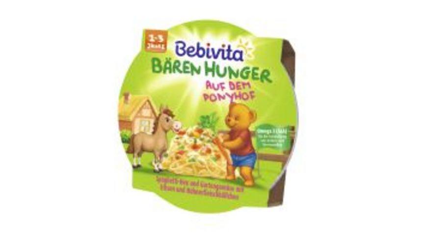 Bebivita Baeren Hunger 1 3 Jahre in der Schale Baeren Hunger auf dem Ponyhof Spaghetti Heu und Gartengemuese mit Erbsen und Huehnerfleischbaellchen