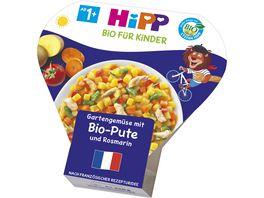 HiPP Bio fuer Kinder Kinder Teller aus aller Welt Schalenmenues 250g Gartenmuese mit Bio Pute und Rosmarin ab 1