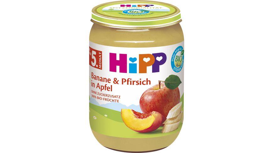HiPP Fruechte Banane und Pfirsich in Apfel