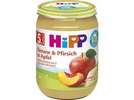 HiPP Fruechte 190g Banane Pfirsich in Apfel ohne Zuckerzusatz nach dem 4 Monat