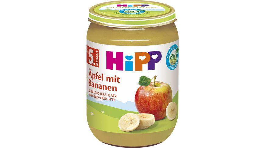 HiPP Früchte 250g: Äpfel mit Bananen, ohne Zuckerzusatz, 100 % BIO-Früchte, ab 5. Monat