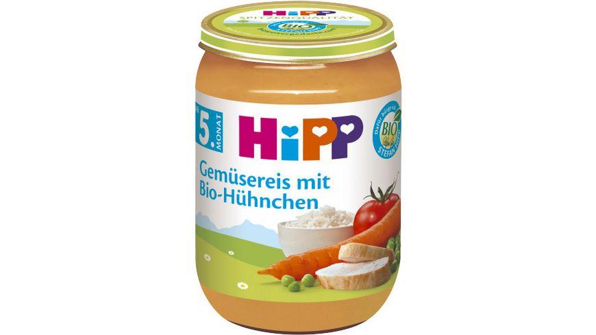 HiPP Menues nach dem 4 Monat Gemuesereis mit Bio Huehnchen
