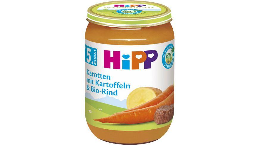 HiPP Menues nach dem 4 Monat Karotten mit Kartoffeln und Bio Rind