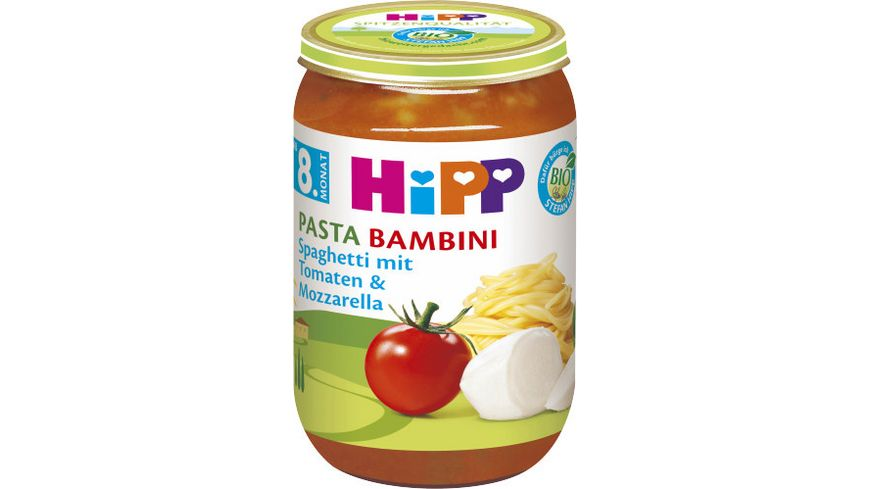 HiPP Bio Menüs Pasta Bambini, Spaghetti mit Tomaten und Mozzarella, 220g