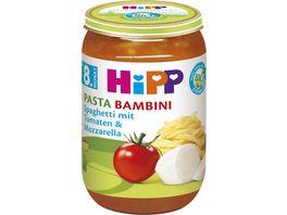 HiPP Babyglaeschen Brei Pasta Bambini Spaghetti mit Tomaten und Mozzarella