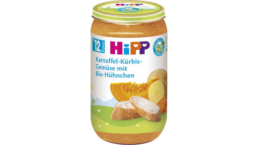 HiPP Menues ab 12 Monat Kartoffel Kuerbis Gemuese mit Bio Huehnchen
