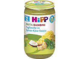 HiPP Babyglaeschen Brei Pasta Bambini Tagliatelle in Spinat Kaese Sauce