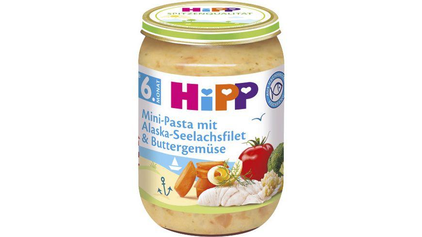 HiPP Menues ab 6 Monat Mini Pasta mit Alaska Seelachsfilet und Buttergemuese