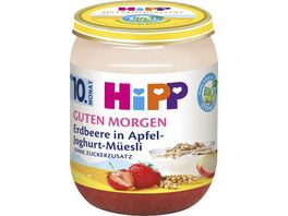 HiPP Guten Morgen 160g Erdbeere in Apfel Joghurt Mueesli ohne Zuckerzusatz ab 10 Monat