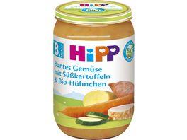 HiPP Menues ab 8 Monat Buntes Gemuese mit Suesskartoffeln und Bio Huehnchen