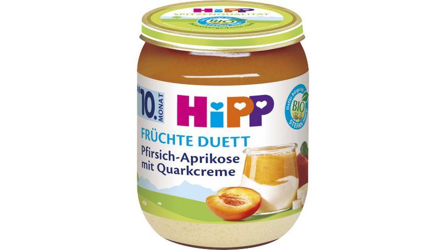 HiPP Fruechte Duett Pfirsich Aprikose mit Quark Creme