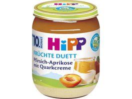 HiPP Babyglaeschen Brei Fruechte Duett Pfirsich Aprikose mit Quark Creme