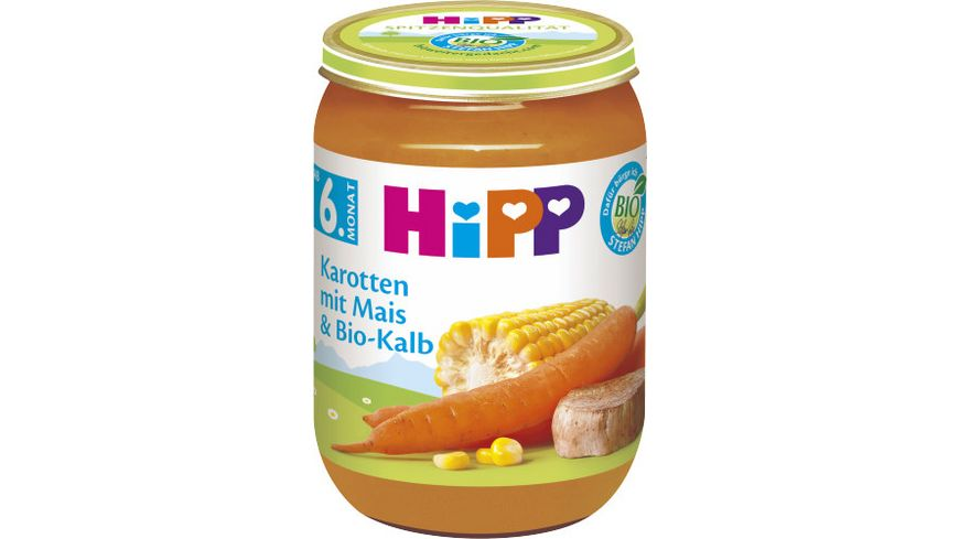 HiPP Menues ab 6 Monat Karotten mit Mais und Bio Kalb