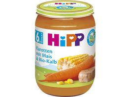 HiPP Babyglaeschen Brei Karotten mit Mais und Bio Kalb