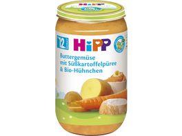 HiPP Babyglaeschen Brei Buttergemuese mit Suesskartoffelpueree und Bio Huehnchen
