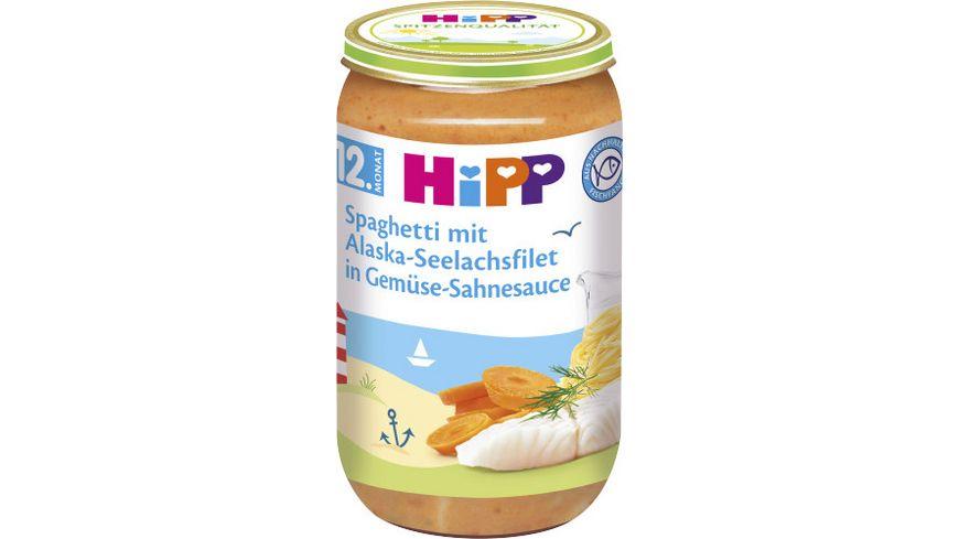 HiPP Menues ab 12 Monat Spaghetti mit Alaska Seelachsfilet in Gemuese Sahnesauce