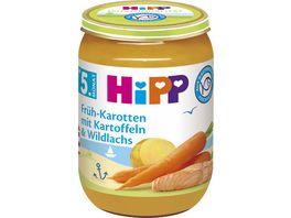 HiPP Menues nach dem 4 Monat Frueh Karotten mit Kartoffeln und Wildlachs