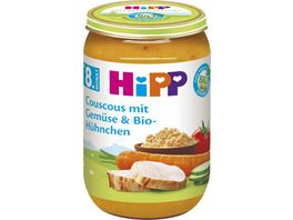 HiPP Babyglaeschen Brei Couscous mit Gemuese und Bio Huehnchen