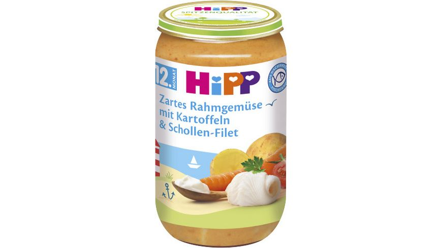 HiPP Menues ab 12 Monat Zartes Rahmgemuese mit Kartoffeln und Schollen Filet