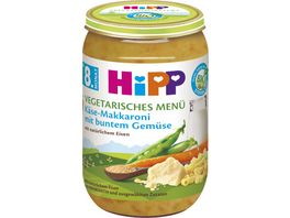 HiPP Menues 220g Vegetarisches Menue Kaese Makkaroni mit butem Gemuese ab 8 Monat