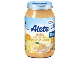 Alete Spaetzle mit Gemuese und Kaese Sauce