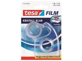 tesa EasyCut Handabroller transparent inkl 1 Rolle tesafilm kristall klar 10m 15mm