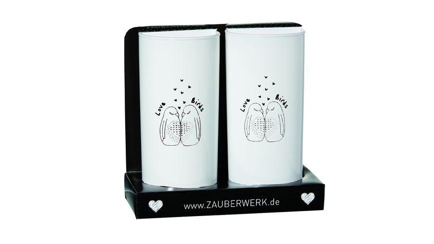ZAUBERWERK Longdrinkbecher Lovebirds 2er Set