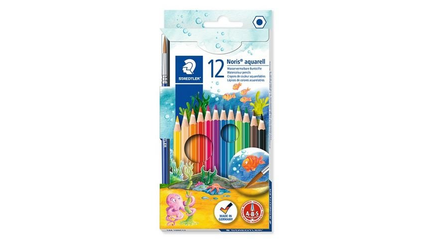 STAEDTLER Aquarellfarbstifte Noris Club 12er Etui Pinsel