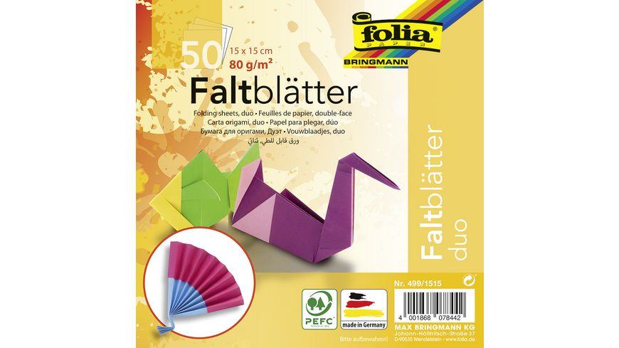 folia Faltblaetter Duo 50 Blatt 15 x 15 cm