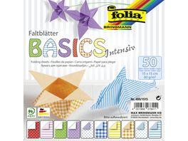 folia Faltblaetter BASIC INTENSIV 50 Blatt 15 x 15 cm
