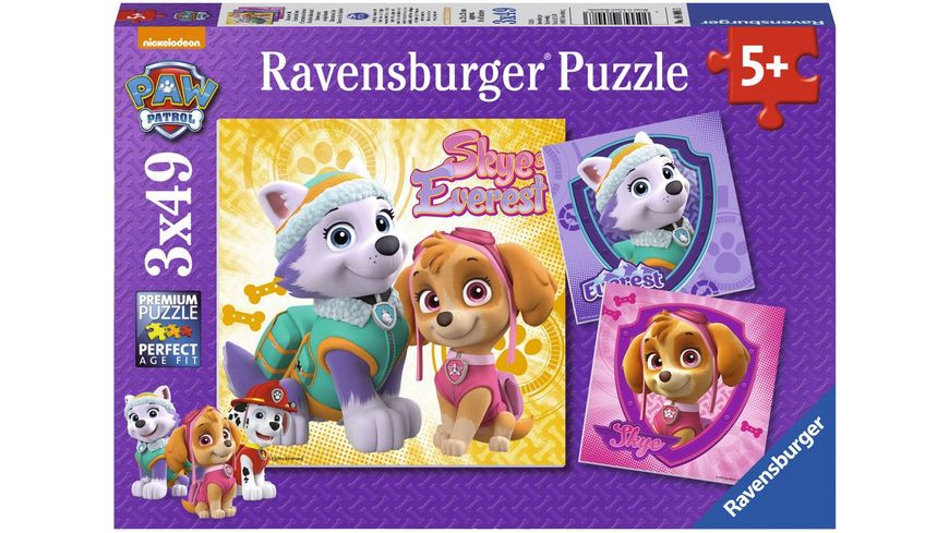 Ravensburger Puzzle Paw Patrol Skye und Everest 3 x 49 Teile
