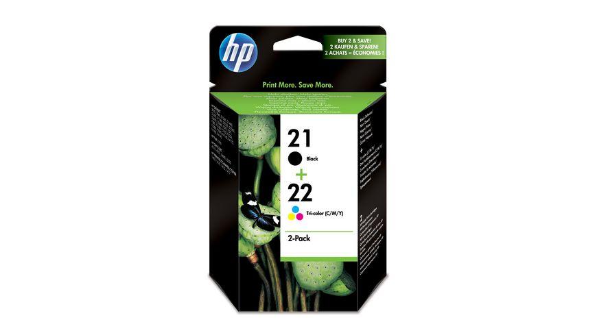 HP Druckerpatrone HP 21 22 Multipack schwarz dreifarbig