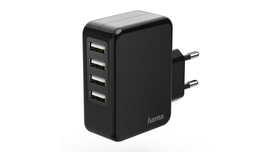 Hama Ladegerät, 4-fach USB, 4.8 A, Schwarz