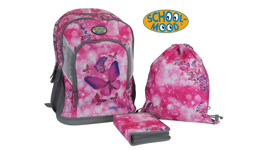 SCHOOL MOOD Schulranzen Set 3tlg Schmetterling