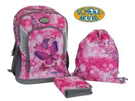 SCHOOL MOOD Schulranzen Set 3tlg Schmetterling