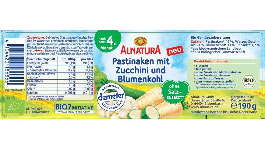 Alnatura Pastinaken mit Zucchini und Blumenkohl