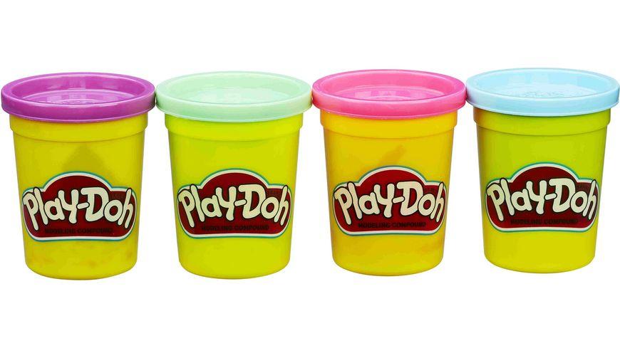 Hasbro Play Doh 4er Pack Grundfarben hellblau hellgruen pink und lila