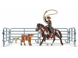 Schleich World of Nature Farm World Team roping mit Cowboy
