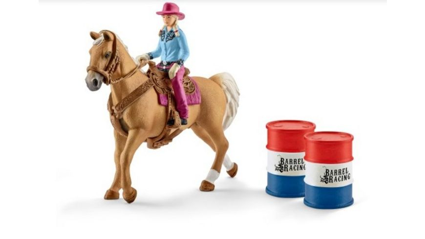 Schleich Farm World Barrel racing mit Cowgirl