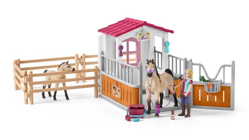 Schleich 42369 Horse Club Pferdebox mit Arabern und Pferdepflegerin
