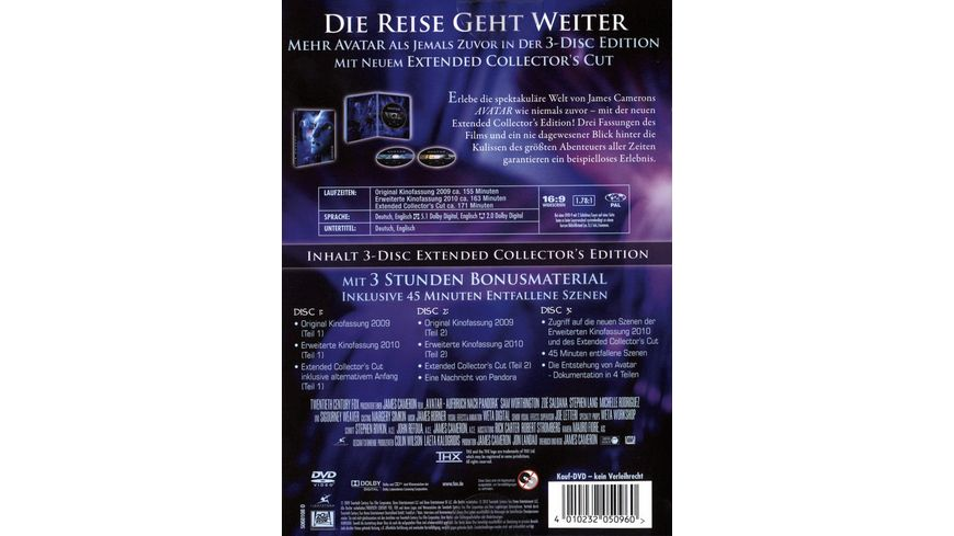Avatar Extended Edition CE 3 DVDs