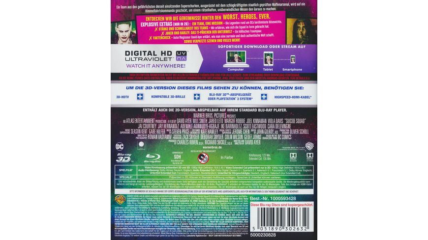 Suicide Squad Kinofassung als Blu ray 3D Extended Cut als Blu ray
