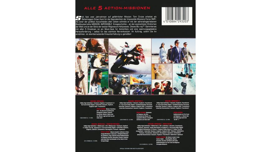 Mission Impossible Die 5 Movie Collection 5 BRs