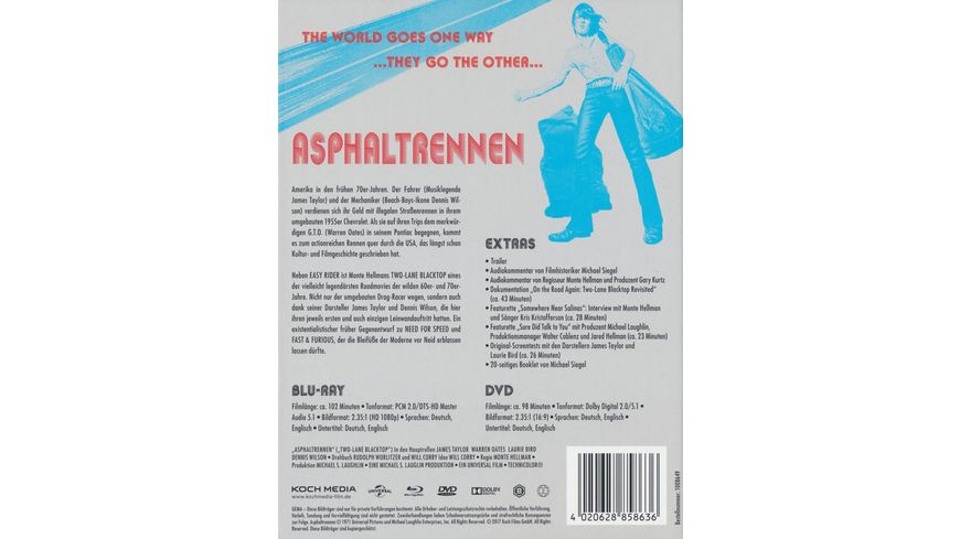 Asphaltrennen Two Lane Blacktop Mediabook DVDs Bonus DVD