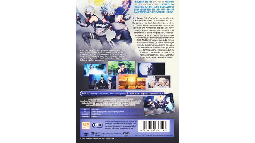 Naruto Shippuden Kakashi Anbu Arc Staffel 16 Folgen 569 581 3 DVDs
