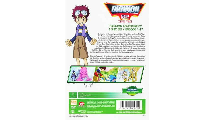 Digimon Adventure 02 im Sammelschuber New Edition Volume 1 Episode 01 17 3 DVDs