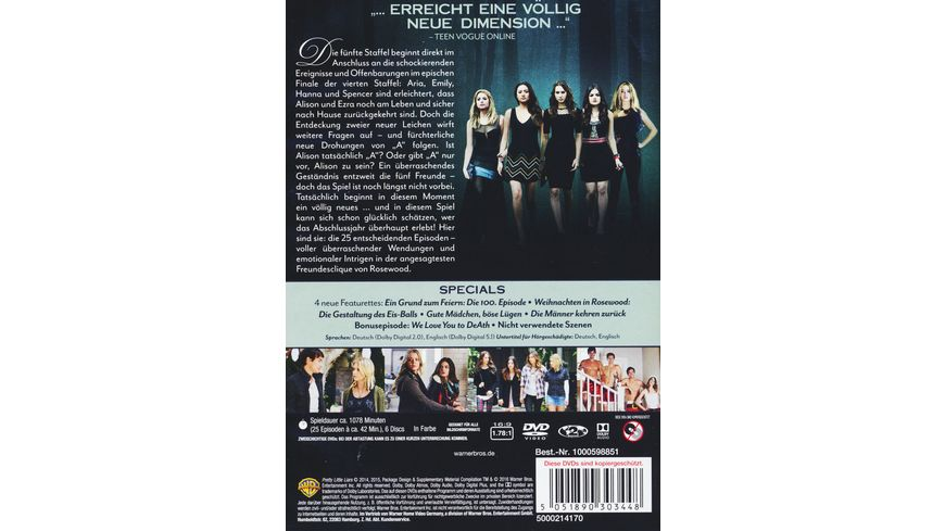 Pretty Little Liars Die komplette 5 Staffel 6 DVDs