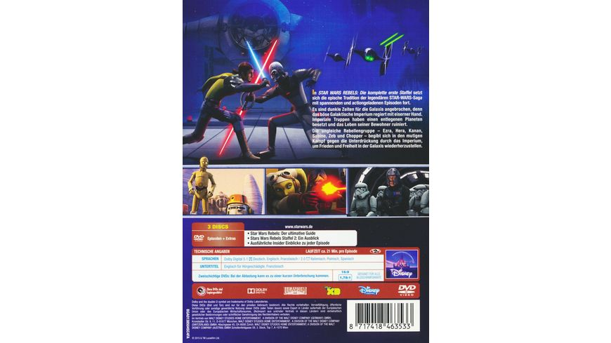 Star Wars Rebels Die komplette erste Staffel 3 DVDs